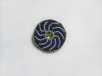 ビジュー&特小ビーズのブローチ(青)の画像
