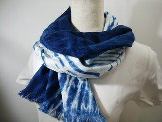 さらっと綿麻の藍染ストールno.2の画像