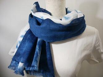 さらっと綿麻の藍染ストールno.4の画像