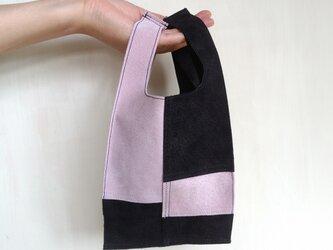 ◆新作◆ 一点物 ガーラのようなエコバッグ 10p (S) ブラックとライトピンクーの画像