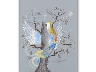 「詩人の描いた時間軸」 鳥 樹 羽 ほっこり癒しのイラストポストカード2枚組No.1352の画像