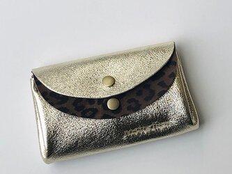 ピッグスキンの小さなお財布ゴールド×レオパード柄茶の画像