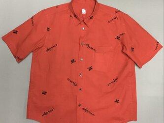 赤い浴衣地で作った半袖メンズシャツ送料無料 XLサイズ の画像
