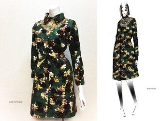 【1点もの・デザイン画付き】ベルト付きアーチゴブラン織り切り替えシャツ型コートワンピース(KOJI TOYODA)の画像