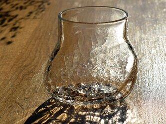 無色透明のグラス - 「KAZEの肌 」#387・ 高さ8.5cm●【 1点限定制作 】の画像