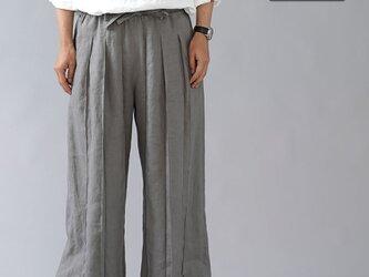 【Lサイズ】【wafu】男女兼用 リネン100% プリーツパンツ ベルト付 やや薄地/にびいろ b005g-nib1の画像