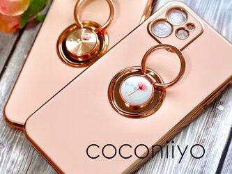 iphoneケース リング付き 押し花 ドライフラワー ピンク かすみ草 スマホケース スマートフォンの画像