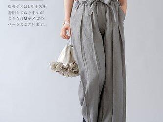 【Mサイズ】【wafu】男女兼用 リネン100% プリーツパンツ ベルト付 やや薄地/にびいろ b005g-nib1の画像