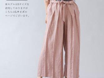 【Lサイズ】【wafu】男女兼用 リネン100% プリーツパンツ ベルト付 やや薄地/すおうこう b005g-sok1の画像