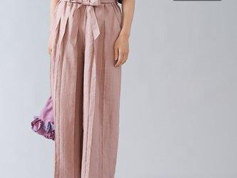 【Sサイズ】【wafu】男女兼用 リネン100% プリーツパンツ ベルト付 やや薄地/すおうこう b005g-sok1の画像