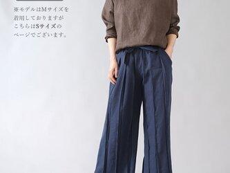 【Sサイズ】【wafu】男女兼用 リネン100% プリーツパンツ ベルト付 やや薄地/とめこん b005g-tmk1の画像
