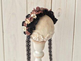 ドール用レースと染め花のヘッドドレス(M・ブラック・マロンピンク)の画像