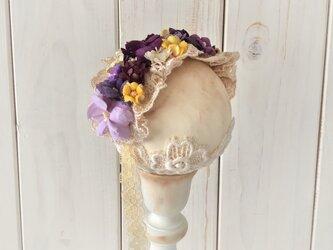 ドール用レースと染め花のヘッドドレス(M・パープル)の画像