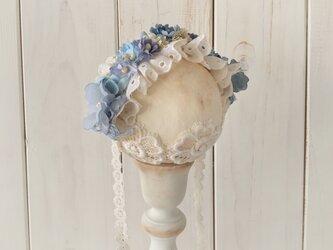 ドール用レースと染め花のヘッドドレス(M・ライトブルー)の画像