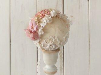 ドール用レースと染め花のヘッドドレス(M・ピンク)の画像