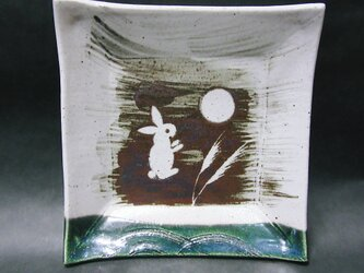 正方形陶板(うさぎ右向き)の画像