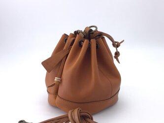 2way巾着バッグ(イタリアンレザーネブラスカライトブラウン)の画像