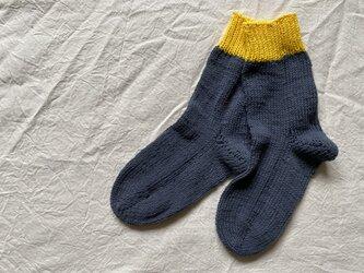 手編みの靴下 コットン グレーの画像