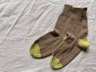 手編みの靴下 コットン ベージュの画像