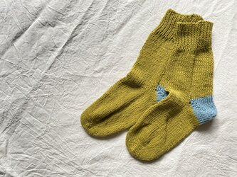 手編みの靴下 コットン 山吹の画像