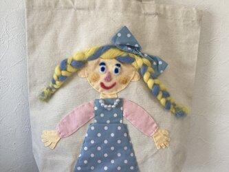 女の子バッグ ドット水色の画像