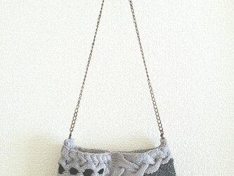 89.夏糸のなわ編みショルダーバッグ〈グレー×ダークグレー〉の画像