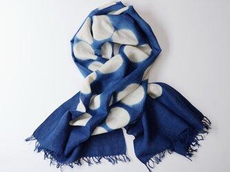 エシカルヘンプ手織りストール 正藍板締め絞り染め ドット柄 71cm幅の画像