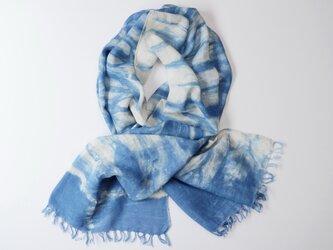 エシカルヘンプ手織りストール 正藍籠染め縞 藍色aの画像