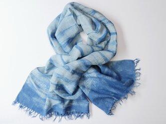 エシカルヘンプ手織りストール 正藍籠染め縞 藍色bの画像
