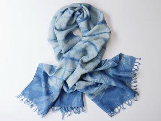 エシカルヘンプ手織りストール 正藍籠染め縞 藍色cの画像