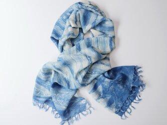 エシカルヘンプ手織りストール 正藍籠染め縞 藍色dの画像