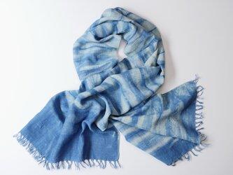 エシカルヘンプ手織りストール 正藍籠染め縞 藍色eの画像