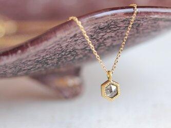 K18 ローズカット・ダイヤモンドネックレス 〈ヘキサゴン・グレー〉の画像
