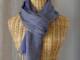 手織りリネンシルクストール・・バイオレットの画像