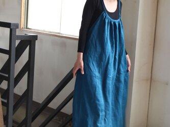 パックリボンキャミソールワンピース フレンチリネンの画像