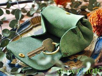 イタリアンバケッタレザー・アラスカ・アコーディオンコインキーケースミニ(グリーン)の画像