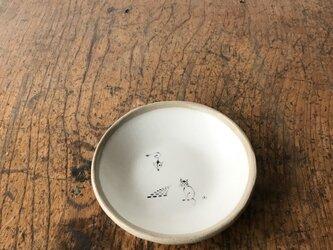 白化粧色絵 小皿 ネコの画像