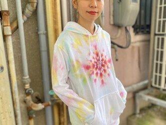 タイダイ染めフーディ  プルオーバー パーカー Hippies Dye最新作 曼荼羅 Mサイズ HD13-87の画像