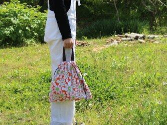 リメイク*レトロな花柄の巾着バッグの画像
