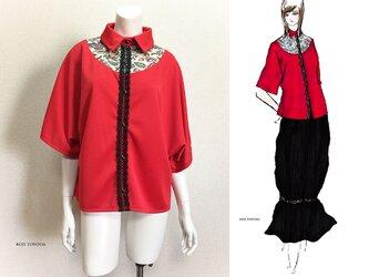 【1点もの・デザイン画付き】ゆったり着物袖アーチゴブラン織り切り替えブラウス(KOJI TOYODA)の画像