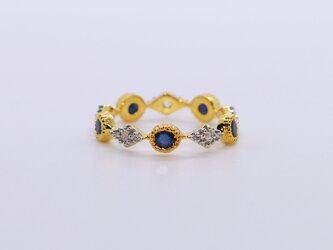 アンティークスタイル*天然ダイアモンド&サファイア 指輪*12号の画像