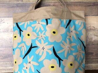 コンパクトおかいものかばん 北欧ターコイズ花 受注製作の画像