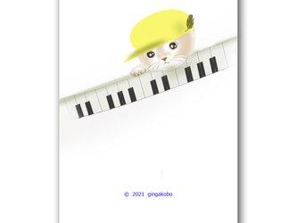 「ほやほやの新一年生」 猫 ピアノ ほっこり癒しのイラストポストカード2枚組No.1354の画像