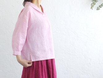 リネン ショールカラー 七分袖 プルオーバーブラウス (シャンブレーピンク)の画像