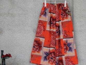 着物リメイク 青梅夜具地のワイドパンツ/フリーサイズの画像