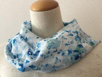 夏ミニスカーフ 水色の画像