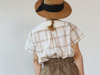無染色オーガニックコットン セーラーチェックシャツ  半袖の画像