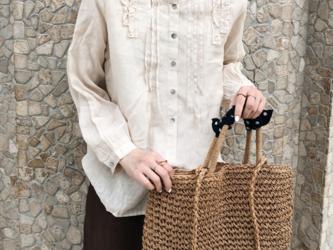 ☆受注製作 柔らかい コットンリネン長袖シャツ パープル  春~夏 ファション ゆったりの画像