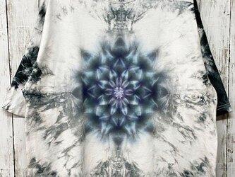 タイダイ染め ビッグシルエット Tシャツ Lサイズ 曼荼羅 ムラ染めブラック  Hippies Dye HD13-90の画像