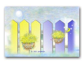 「幸せはささやかがいい」 ハンギングバスケット ほっこり癒しのイラストポストカード2枚組No.1355の画像
